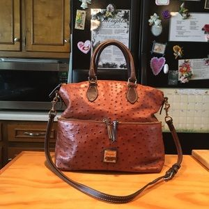 D&B Dome Brown Ostrich Emboss Leather Shoulderbag